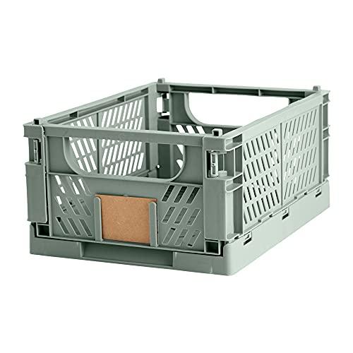 Caja de almacenaje plegable y apilable, medida 33x24.5 cm, altura 15 cm, Capacidad 10 Lts | Ideal para cocina, garaje o en estanterías de sus guardados. Mod. UT4020 (Mint Gree)