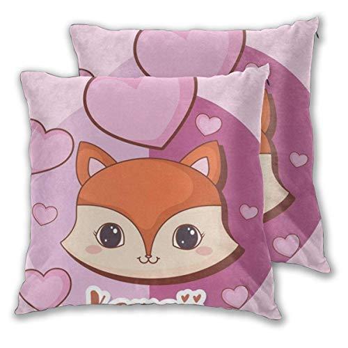 JONINOT 2 PCS 18 'x18' Kawaii Animals Throw Pillow Funda de cojín, los Insertos no están incluidos