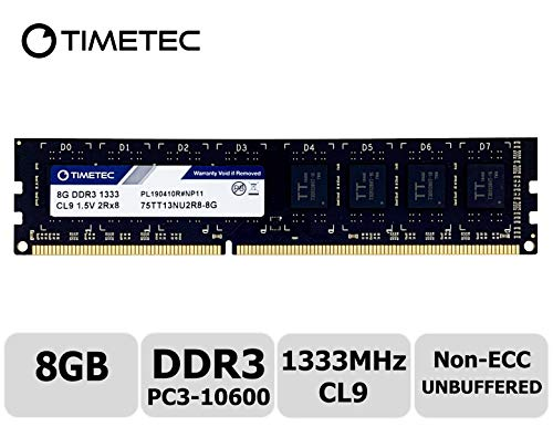 Timetec Hynix IC DDR3 1333MHz PC3-10600 Unbuffered Non-ECC 1.5V CL9 2Rx8 Dual Rank 240 Pin (8GB)