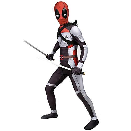 Deadpool Kostüm, Wade Kostüm, Superheld Erweiterte Tech-Kostüm, Erwachsene Kinder Film Cosplay Kleidung,Kids-XS