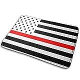 Hangdachang - Alfombrilla para puerta, diseño de bandera americana fina, color rojo, multifuncional, lavable,...