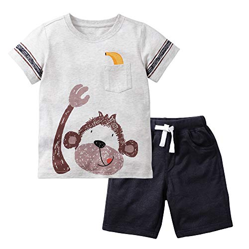 Little Bitty Boy's Summer Clothes Toddler Short Sets Cotton Outfits T-Shirt&Shorts Monkey 2-3Y/2T