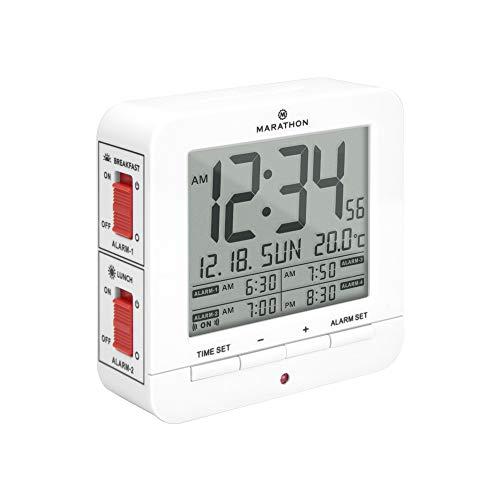 Marathon - Reloj despertador digital con 4 alarmas y retroiluminación automática, pantalla de hora, fecha y temperatura, pilas incluidas, CL030075WH (blanco)