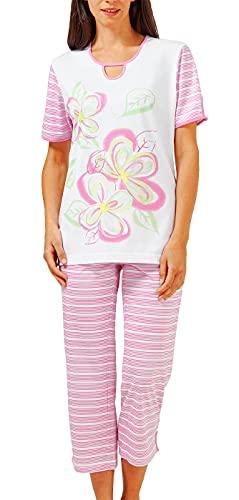 hajo - Damen Schlafanzug Kurzarm (7/8 Pyjama) Hibiskus Modal* 44/46