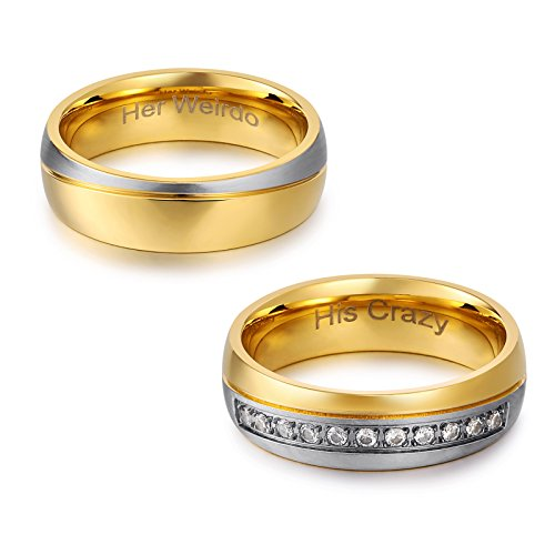 Bishilin Wedding Rings His Crazy/Her Weirdo Heart Engraved Ring Titanium Bands Ring for Couple W8+M8