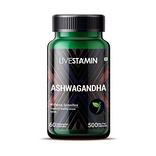 Organic Ashwagandha Capsules - 500mg Ashwanghanda Root Powder Capsules - 60 Vegan Ashwaganda Tablets - High Strength Natural Supplement