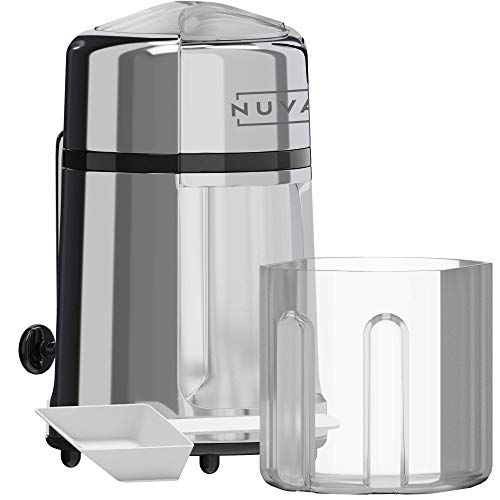 Nuvantee - Trituradora de hielo manual de acero al carbono con construcción de aleación de zinc a prueba de óxido, antideslizante, fácil de usar, manivela de mano – cromado
