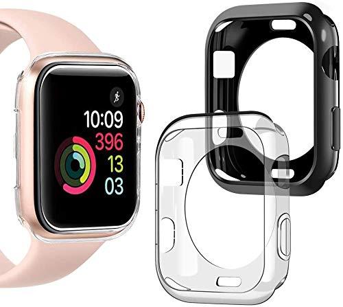 wlooo Funda para Apple Watch 38mm Serie 3/2/1, Carcasa Protectora Ultrafina Suave TPU Silicona, Anti-Arañazos Funda HD Claro Case Cover para iWatch Serie 3 2 1 [2 Piezas] (38mm, Negro + Claro)