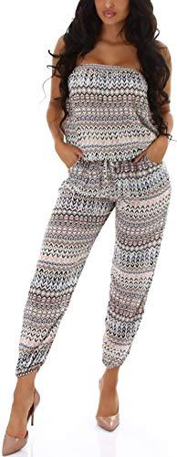 Jela London Damen Bandeau-Overall trägerlos Sommer Onesie Jumpsuit luftig leicht Streifenmuster, Blau