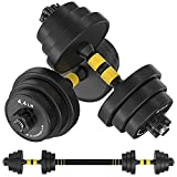IAMACE Adjustable Dumbbells Set 33/44/55/66/88 lbs with Durable Steel Dumbbell Rod,2 in 1 Barbell Free Weights Dumbbells Set for Home Gym Fitness Workout Exercise Training