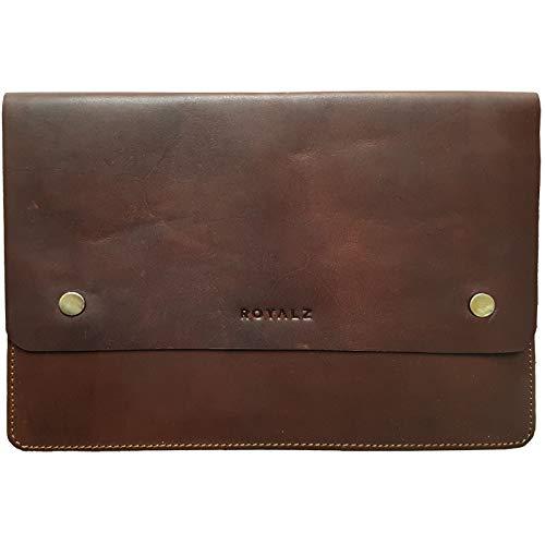 ROYALZ Universal Ledertasche für Tablets 9.7-10.1 Zoll Schutzhülle Flach Vintage Optik Tasche für Transport zum Schutz, Farbe:Dunkel Cognac Braun