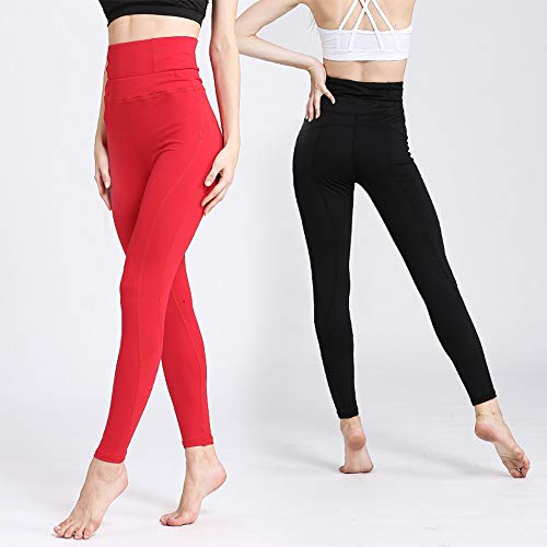 2 Pieces Women's Yoga Leggings Fitness Panty's Workout Pants Gym met zijvak Womens Stretch hoge taille Solid Athletic