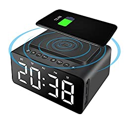WIOR Alarm Clock Bluetooth Speaker, Wireless Charging Digital Alarm Clock, Smart Alarm Clock Radio with USB Port, LED Display, TF Card, AUX Input, Hands-Free Call for Bedroom Bedside Office (Black)