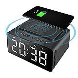 LINGSFIRE FM Radiowecker mit Kabelloser Ladestation, USB Ladestation, Bluetooth-Lautsprecher, Digitales Großes LED Display mit Dimmer, Einstellbare Alarmtöne, Snoozefunktion, für Schlafzimmer(Schwarz)