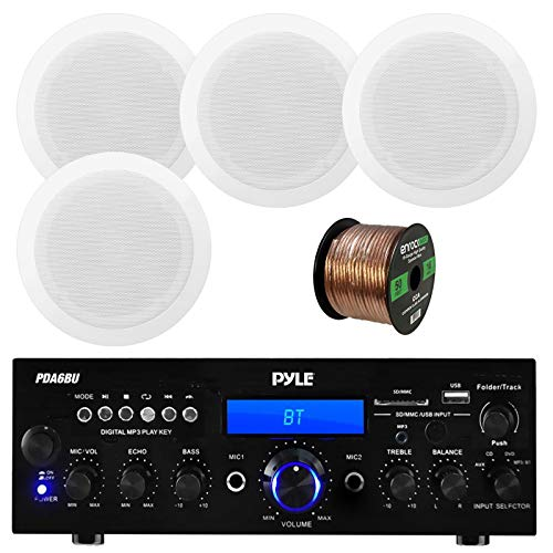 Pyle USB/SD-Card 200 Watt Bluetooth Stereo Amplifier Receiver, 8