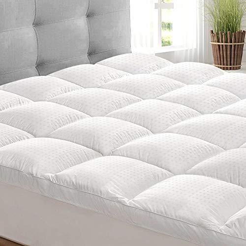 Vonabem - Cubrecolchón extra grueso de algodón refrescante para colchón de calidad de hotel, funda de colchón acolchado de felpa con bolsillo de 20 a 21 pulgadas de profundidad