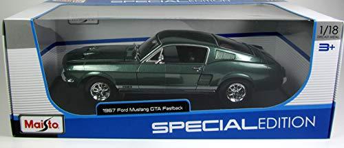 Ford Mustang GTA Fastback, metallic-dunkelgrün, 1967, Modellauto, Fertigmodell, Maisto 1:18