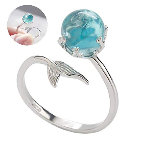 1PC Adjustable Finger Ring Mermaid Open Rings 925 Sterling Silver Wrap Around Twisted Rope Band Rings(Blue)