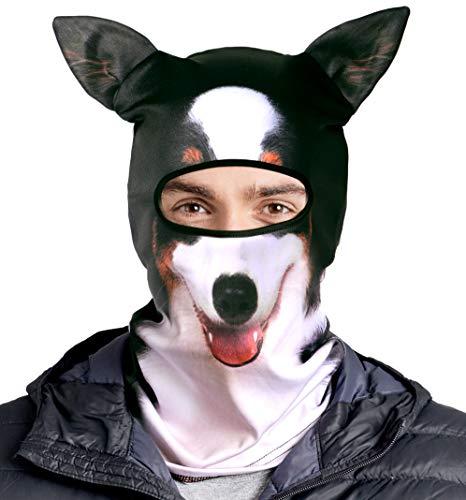 3D Animal Balaclava Outdoor Mask - Dog Winter Face Mask & Cat Ski Mask with Ears. Animal Print Ski Mask - Funny Mask Winter (Corgi)