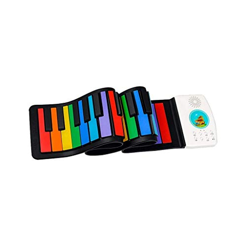 Digitale piano Beginners slag Kinderen Verlichting Hand Roll Electronic Piano 49 Key Thicken Portable Keyboard Early Learning Toys Small Instrument Gifts (Color : Multi-colored, Size : 49 keys)
