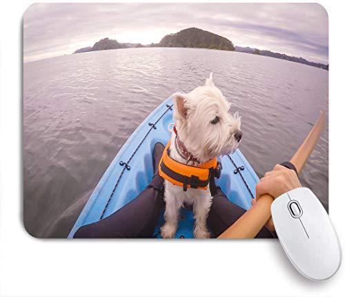 Dekoratives Gaming-Mauspad,West Highland White Terrier Westie Hund trägt Schwimmweste Kajak in Paihia Bay of Islands Neuseeland NZ,Bürocomputer-Mausmatte mit rutschfester Gummibasis