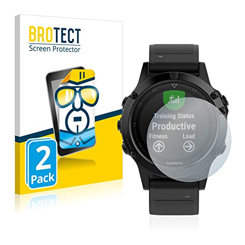BROTECT Protector Pantalla Compatible con Garmin Fenix 5 (47 mm) / 5 Plus (47 mm) Protector Transparente (2 Unidades) Anti-Huellas