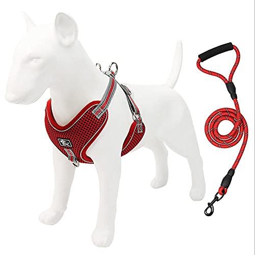 GMYQ Arnés de perro sin tirar, transpirable, ajustable, malla transpirable, ligera, fácil de controlar para caminar al aire libre, cómodo chaleco para mascotas, rojo _2XL