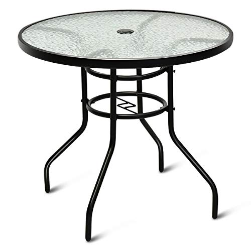 Lares & Penates Black Metal Frame Tempered Glass Top Outdoor Round Table with Umbrella Hole, Garden Poolside Tables, Patio Furniture
