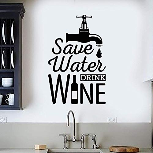 XCSJX Funny Alcoholic Liquor Quotes Save Water Vinyl Wall Stickers Home Decor Decals Bar Decoration Mural Gifts Removable 73x114cm
