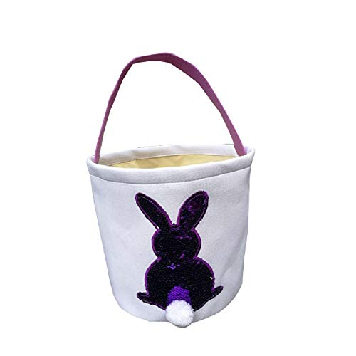 Jolly Jon Easter Bunny Basket Bag - Purple to Silver Sequin Colors - Kids Easter Egg Hunt Baskets - Color Changing Reusable Party Bags - Rabbit with Cotton Tail Canvas Tote