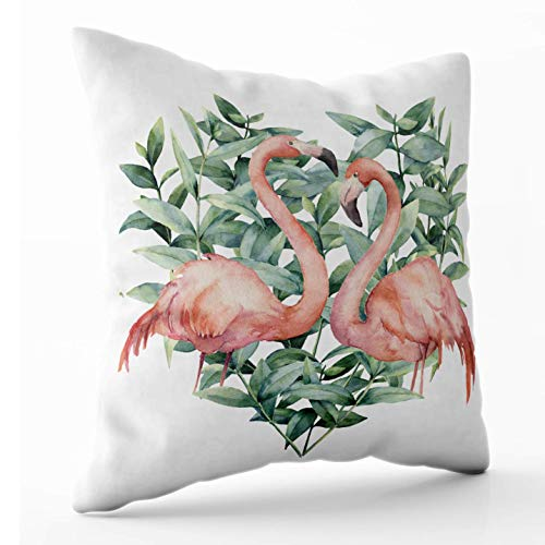 Beautiful Throw Pillows Covers 18 X 18 Inch13.8 Watercolor Heart with Pink Flamingo and Eucalyptus Leaves Painted Isolated White Mothers Day Throw Pillow Animal Shaped Seat for Modern Sofa