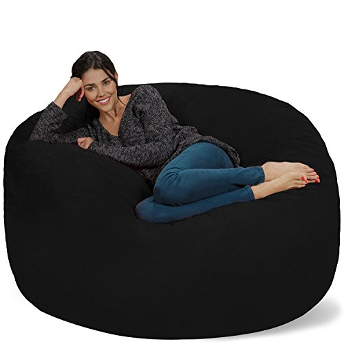 Chill Sack Bean Bag Chair: Giant 5' Memory Foam Furniture Bean Bag - Big Sofa with Soft Micro Fiber Cover - Black