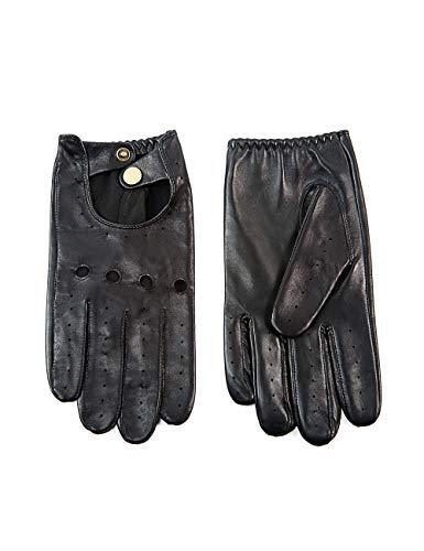 """YISEVEN Men's Sheepskin Leather Motorcycle Driving lined Gloves Classic Soft Lampskin Button Punk Rock Cycling Fitness Touchscreen Warm Winter Dress, Black 10.0""""/XL"""