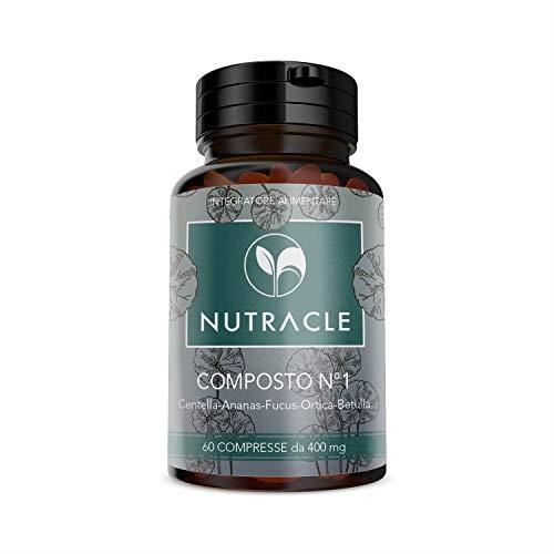 NUTRACLE, COMPOSTO N.1 Drenante Forte Naturale. 60 compresse da 400mg | A base di Centella, Ananas, Fucus, Ortica e Betulla| Depurativo, Contro Gambe Stanche e Gonfie