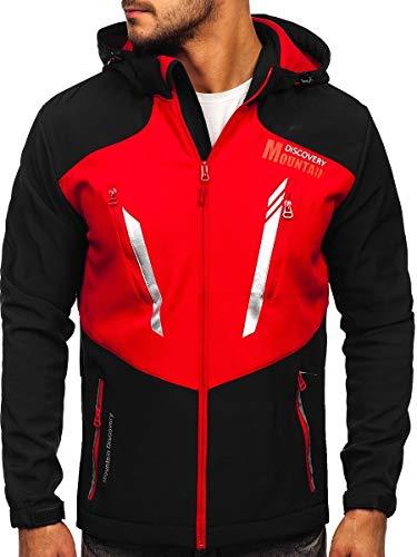 BOLF Hombre Chaqueta de Entretiempo Softshell con Capucha Cierre de Cremallera Cazadora Ropa de Abrigo Estilo Deportivo J.Style HH022 Negro-Rojo L [4D4]