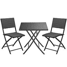 CASARIA Ensemble de Balcon 3 pièces en rotin synthétique – Table Pliante et 2 chaises Pliantes – Résistant aux…