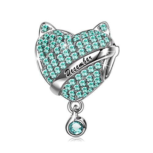 NINAQUEEN Charm für Pandora Charms Armband Geburtsstein Dezember Türkis Geschenk für Frauen Silber 925 Zirkonia Schmuck Damen mit Schmuckkasten