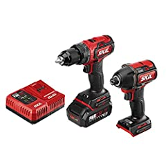 2-TOOL CORDLESS DRILL COMBO KIT—Drill set includes Brushless 20V 1/2 Inch Drill Driver and Brushless 20V 1/4 Inch Hex Impact Driver. Plus a PWRCore 20 2.0Ah Lithium Battery and PWRJump Charger. DIGITAL BRUSHLESS MOTOR—Provides efficient, high perform...