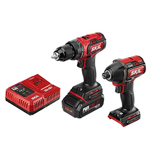 SKIL 2-Tool Kit: PWRCore 20 Brushless 20V Cordless Drill Driver and 1/4 Inch Hex Impact Driver, Includes 2.0Ah Lithium Battery and PWRJump Charger - CB743701