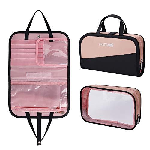 Kulturbeutel Reise Kosmetiktasche für Damen, Make-up Bürstentasche mit Tragegriff Wasserdicht Transparent PVC Kulturtasche 2 in 1 Waschbeutel, Rosa