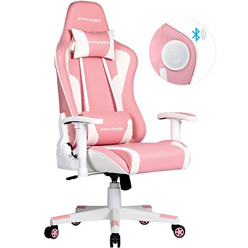 GTPLAYER Gaming Stuhl mit Lautsprecher Bürostuhl Schreibtischstuhl Serie Musik Audio Gamer Stuhl Drehstuhl Ergonomisches PC Stuhl Multi-Funktion E-Sports Chefsessel Rosa gtracing Series