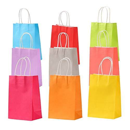 50pcs Kraft Party Favor Gift Bags Paper Thank You Gift Bag with Handle for Shopping Birthday Baby Shower Wedding Packaging Craft Goody Reusable Merchandise Bag (Rainbow Color - 8.27 x 5.9 x 3.15 inch)