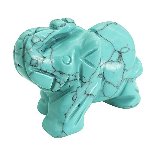favoramulet Green Howlite Turquoise 1.5' Handcarved Stone Elephant Statue Pocket Healing Crystal Figurine Animal Sculpture