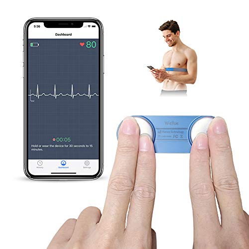 ECG Portatile Elettrocardiogramma, ViATOM Monitor ECG con Fascia Toracica, APP Compatibile con iOS e Android, Monitoraggio 30s -15min, Monitor ECG Portatile Bluetooth per Uso Domestico