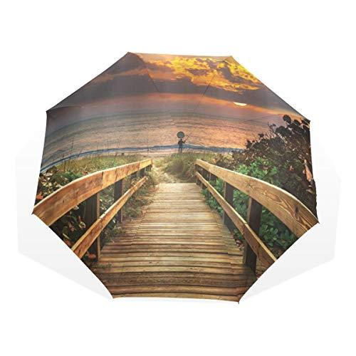 LASINSU Regenschirm,Gestalten Sie hölzernen Pier zum ruhigen idyllischen Strand mit Kraut Büschen in Sonnenuntergang Meer landschaftlich,Faltbar Kompakt Sonnenschirm UV Schutz Winddicht Regenschirm