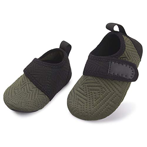 L-RUN Toddler Swim Water Shoes Non-Slip Barefoot Shoes Army 18-24 Month=EU21-22