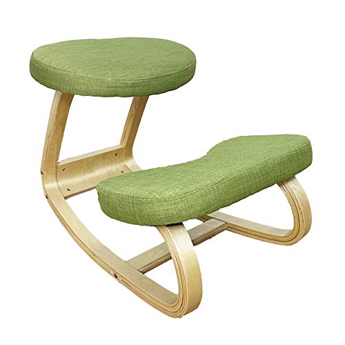 Birch Kneeling Chair Ergonomic Rocking Chair with Large Area Thickening Cushion, Easy to Assemble Improve Sitting Posture for Home Office, Green