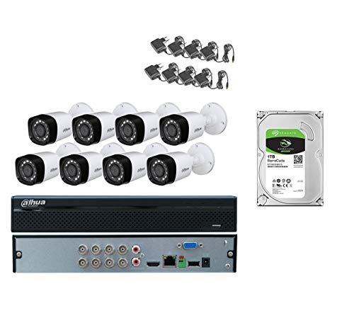 Kit DAHUA 8 cámaras 4 MP, XVR 8 Canales 5 MP UPS 600 VA y 4 Placas de Cable RG59 de Regalo