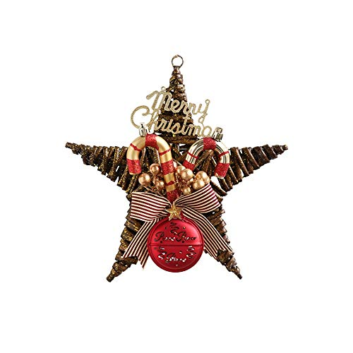 LRHD Christmas Rattan Ornaments Five-Pointed Star Decoration Heart-Shaped Christmas Ornaments Ornaments Used for Christmas Decorations in Christmas Trees Walls Doors and Windows (Color : A)
