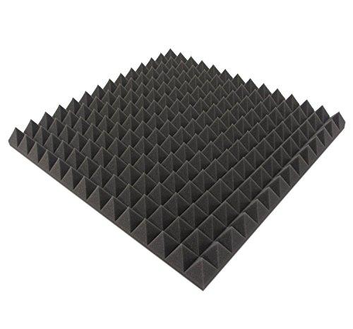 B-Ware in geprüfter Qualität nochmals bis zu 50% reduziert!! 16 Stk. Akustikschaumstoff ca. 50x50x5cm, Anthrazit Schwarz, Pyramiden Schaumstoff Noppenschaum